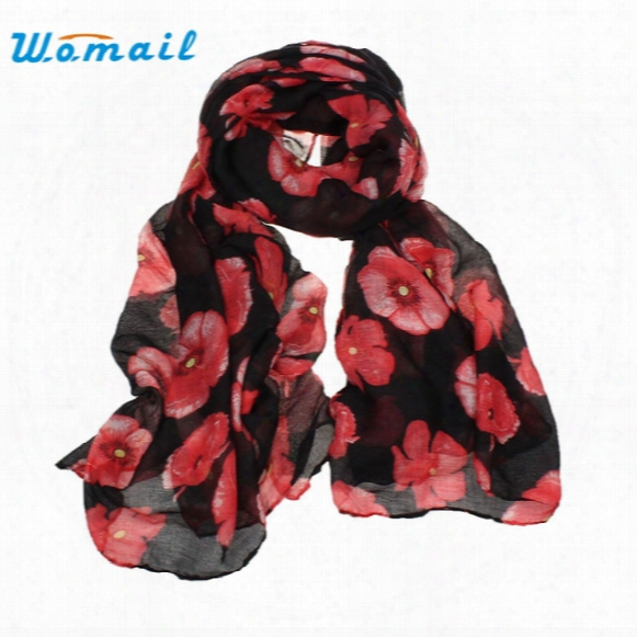 Wholesale- Womail Good Deal Good Deal New Women Red Poppy Flower Print Long Scarf Flower Beach Wrap Ladies Stole Shawl Gift 1pc