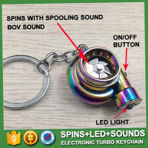 13 Colors Led Electric Torch Spinning Turbo Keychain Fans Favorite Sleeve Bearing Turbine Turbocharger Keyring Key Chain Ring Keyfob