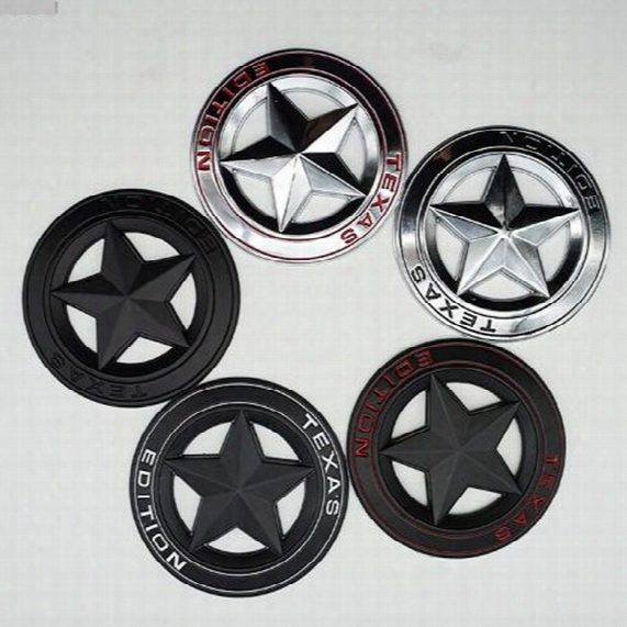 3d Chrome Metal Texas Edition Five-pointed Star Car Styling Stickers Decoration For Grand Cherokee Compass Wrangler