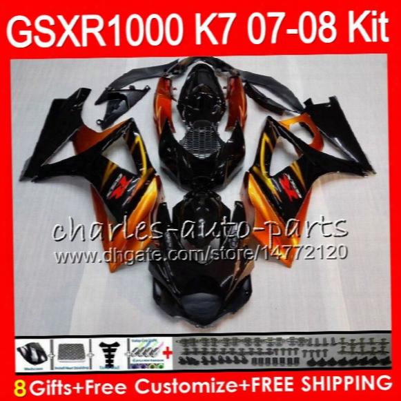 8 Gifts 23 Colors Body For Suzuki Gsxr1000 2007 2008 13hm9 Gsxr-1000 07 08 Gsx-r1000 K7 Gsxr 1000 07 08 Fairing Kit Bodywork Orange Black