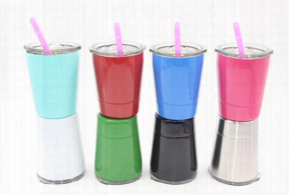 8.5oz Wine Glasses Stainless Steel Rambler Tumbler 8.5oz Cups Travel Vehicle Beer Mug Non-vacuum Mugs With Straws&lids