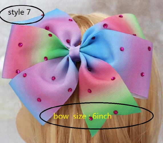 8style Available 8inch Jojo Siwa Large Green Sequin Signature Hair Bow Dance Cheerleader Pageant 24pcs No Paper Card