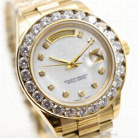Aaa Luxury Brand Watch Gold President Day-date Diamonds Watch Men Stainless Mother Of Pearl Diamond Bezel Atuomatic Wristwatch Watches Red