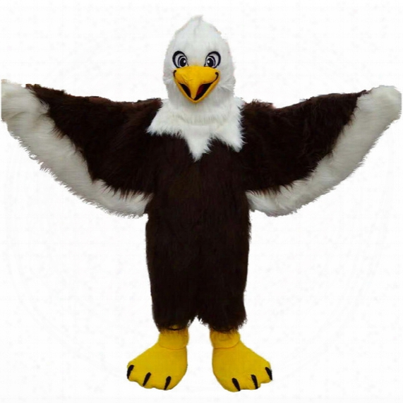 Brown Eagle Long Wool High Quality Seagull Mascot Costumes Cartoon Character Adult Sz 100% Real Picture