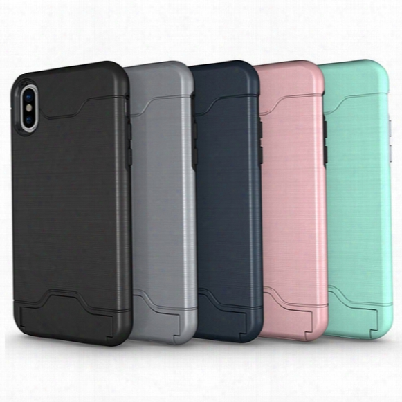 Card Slot Case For Iphone 8 Samsung S8 Armor Case Hard Shell Back Cover With Kickstand Case For Iphone 6 6 Plus 7 Plus Samsung S8 Plus