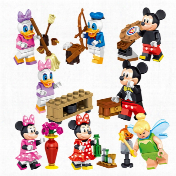 Cartoon Mickey Building Blocks Mini Donald Duck Figures Block Toys For Children Bricks Kids Gifts Toy 8pcs/lot 37005
