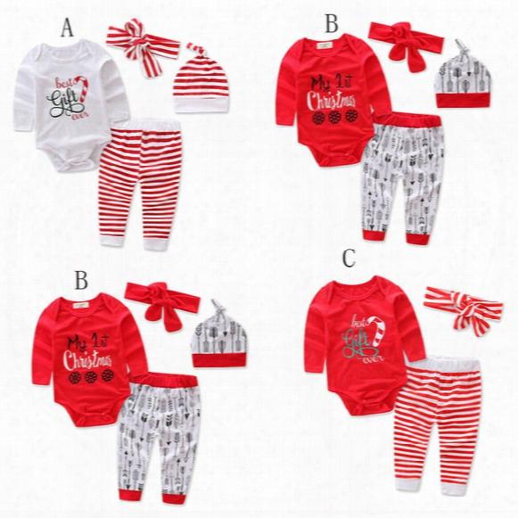 Children Christmas Stripe Outfits Cartoon Letter Printing Headband+romper+pants 3pcs/set Xmas Baby Suits Kids Clothing C2662