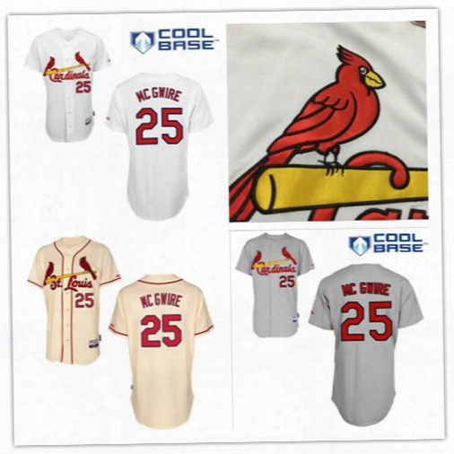 Discount Mark Mcgwire Jersey St. Louis Cardinals #25 Authentic Baseball Jerseys Embroidery Stitched Onfield Home Men's Sport Shirts
