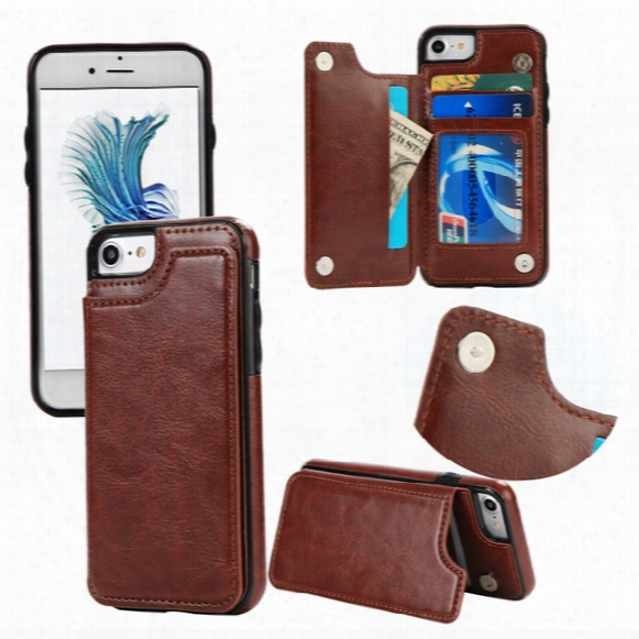 For Iphone 6s 7 Plus Case Luxury Leather Wallet Flip Card Slot Holder Stand Back Cover Case For Iphone With Opp Bag