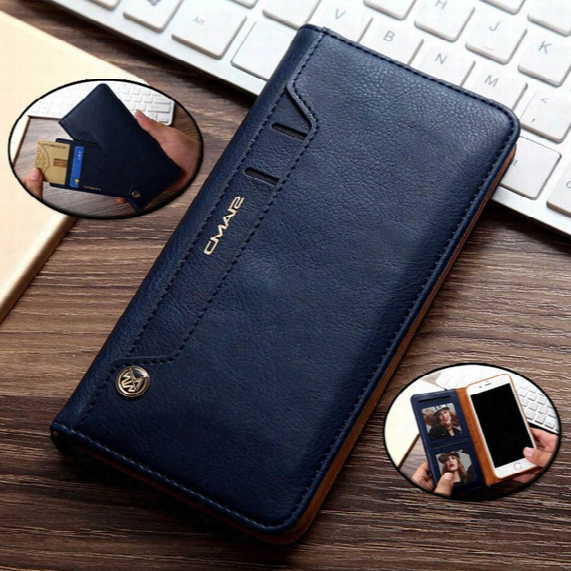 For Iphone6/6s Plus 7/7plus Flip Stand Wallet Leather Case With Photo Frame Phone Cover Phone Case No Buckle Adsorption Swivel Card Purse Cl