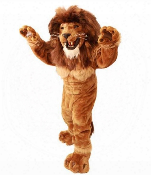 Friendly Lion Mascot Costume Adult Size Wild Animal Male Lion King Carnival Party Mascotte Fit Suit Kit Ems