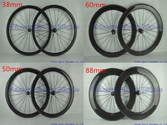 Full Carbon Road Bike Wheels Wheelset Without Decal Stickers Full Black 3k Ud Glossy Matte Finish 38 50 60 88 Mm Original Brand Available