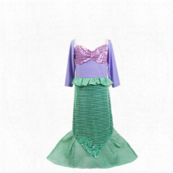 Halloween Christmas Carnaval Sequins Costumes For Kids Girl Long Sleeve Ariel Little Mermaid Costume Dress Girls Children Girl Birthday