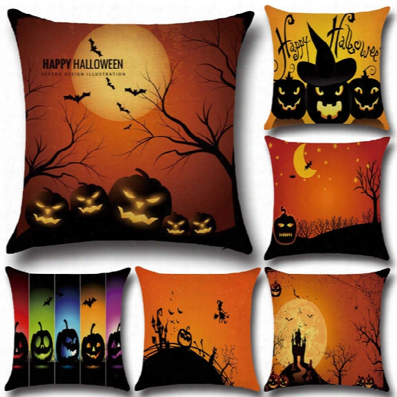 Halloween Pumpkin Witch Cushion Cover Cartoon Halloween Style Pillow Cover Home Decorative Cushion Cases Festival Gift Ylcm