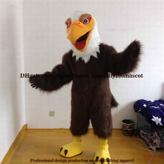 High Quality Carnival Adult Eagle Mascot Costume Free Shipping,real Pictures Deluxe Party Bird Hawk, Falcon Mascot Costume Factory Direct