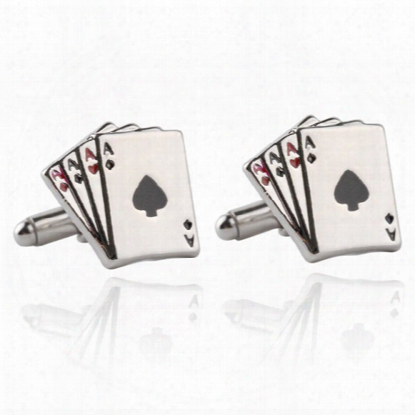 Jewellery 4a Poker Cufflinks Male French Shirt Cuff Links Cards Design Cufflink Fashion For Men's Jewelry Gift 170631