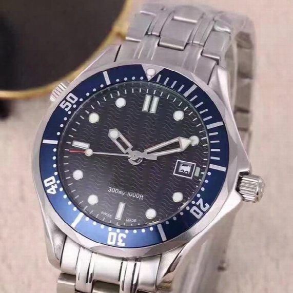 Luxury Stainless Steel Mens Professional 300m James Bond 007 Blue Black Dial Automatic Watch Men's Watches
