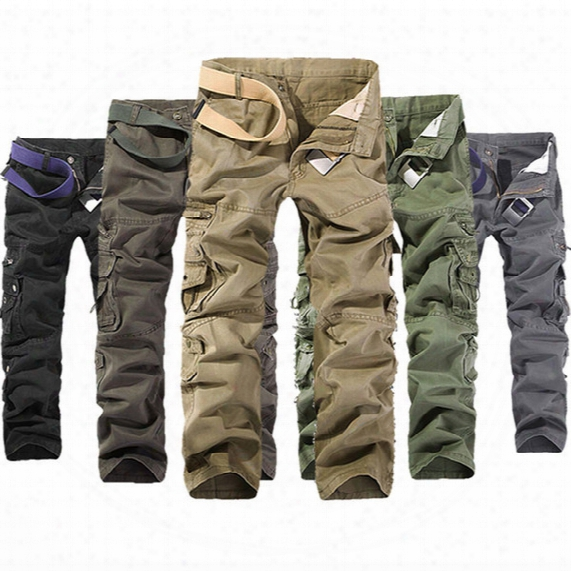 Men's Military Army Combat Cotton Camo Cargo Pants Tactical Casual Mens Pant Multi Pocket Outdoor Straight Trousers Plus Size 28-42