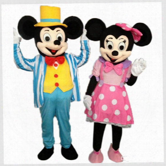 Mickey Minnie Mouse Mascot Costume Cartoon Character Costume Gentlemen Mickey Lady Minnie Costume Adult Size