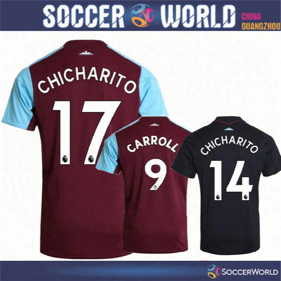 New 17-18 Season Westham United Soccer Jerseys West Ham Best Quality Carroll Chicharito Noble Soccer Shirts