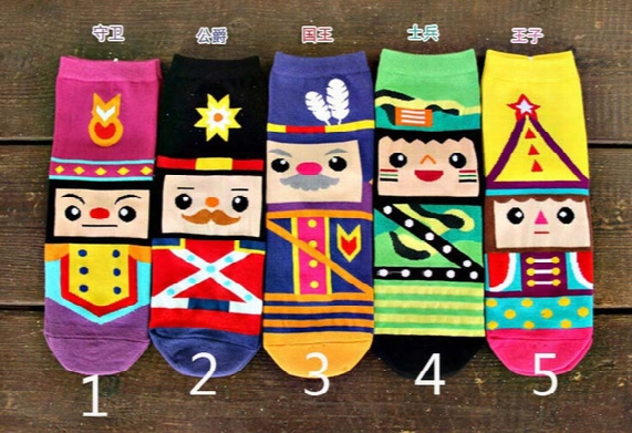 New Arrival Women Socks Fashion Lovely Cartoon Cotton 3d Nutcracker Printed Casual Sock For Woman Cw84