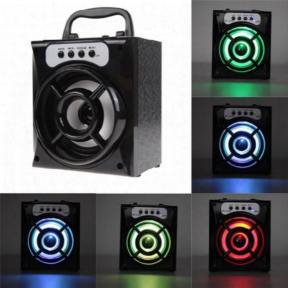 Original Ms-132bt Mini Portable Wireless Bluetooth Square Speaker Support Fm Radio Led Shinning Tf/micro Sd Card Music Playing