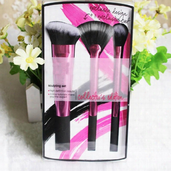 Real Tech Rose Pink 3 Sculpting Brush Set Professional Makeup Brushes Synthetic Hair Face Care Maquiagem Beauty Maquillaje Cosmetic Make Up
