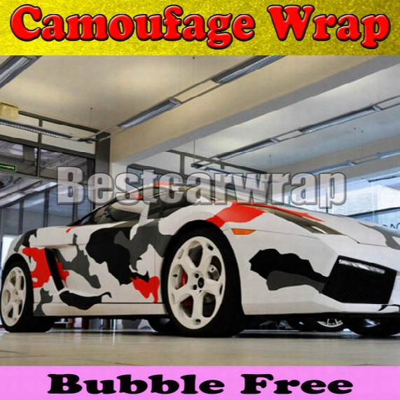 Red White Black Arctic Camo Vinyl Car Wrap Film With Air Rlease Gloss / Matt Snow Camouflage Pixel Car Sticker 1.52x30m/roll(5x100ft)