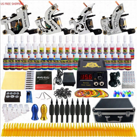 Solong Tattoo Complete Tattoo Kit 4 Machine Guns 54 Inks Power Box Carry Case For Shader And Liner Tattoo Supply Set Tk459