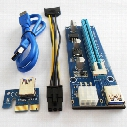 006C PCIe PCI-E PCI Express Riser Card 1x to 16x USB 3.0 Data Cable Adapter SATA to 4Pin IDE Molex 6 pin for Bitcoin Mining