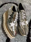 Italian Brand Stella Shoes McCartney Women Causal Shoes Stars Genuine Leather Platform Wedges Sneakers Shoes 34-40 WITH BOX