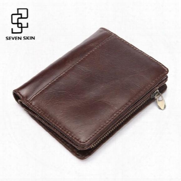 Wholesale- Men Casual Genuine Cowhide Leather Wallet Vintage Design Small Coin Purse Male Short Slim Zipper Bifold Wallet Card Photo Holder