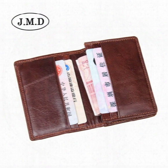 10pcs/lot J.m.d Hot Sale Genuine Leather Unisex Men's Card Holder Wallets High Quality Female Credit Pillow Card Holder With Coin Purse 8078