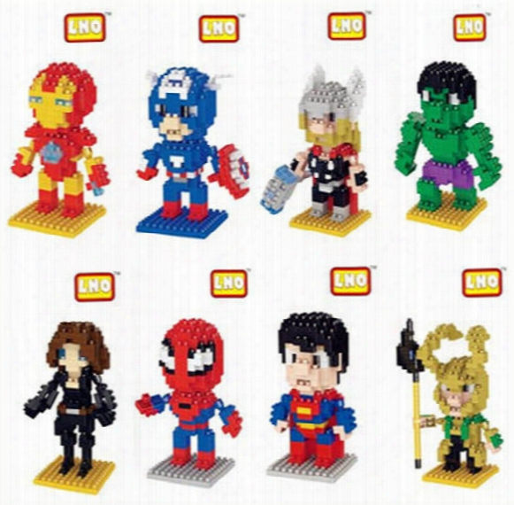 10pcs/lot Mini Qute Lno 75mm Box Marvel Avenger Super Hero Batman Nano 3d Plastic Puzzle Cartoon Movie Model Children Gift Toy