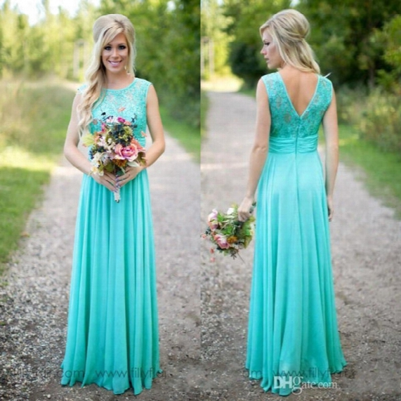 2017 Hot Turquoise Bridesmaid Dresses Cheap Scoop Neckline Chiffon Floor Length Lace V Backless Long Bridesmaid Dresses For Country Weddings