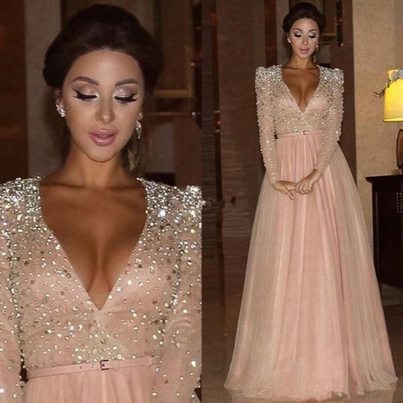 2017 New Myriam Fares Formal Evening Dresses Long Sleeves Deep V Neck Crystal Blush Pink Arabic Red Carpet Prom Party Pageant Gowns Vestidos
