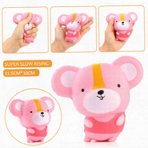 20pcs/lot 12cm Kawaii Cartoon Mouse Baby Doll Squishy Slow Rising Jumbo Hamster Phone Straps Pendant Charm Scented Bread Cake Kid Toy Gift