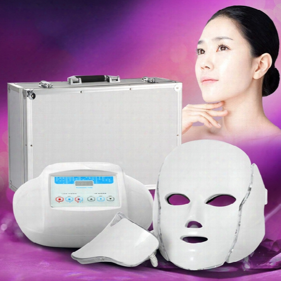 3in1 Light Photon Therapy Led Facial Mask Skin Rejuvenation Pdt Skin Care Beauty Machine Face & Neck Use With Microcurrent Electrode Massage