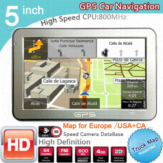 5 Inch Car Gps Navigator Fm/8gb/ddr128m Best Gps For Igo Us/canada/europe/austrilia/newzealand Free 3d Map Wince 6.0