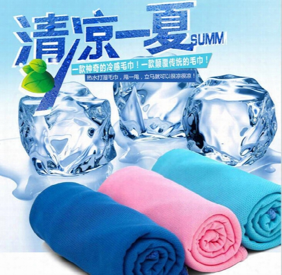 500pcs Creative Cold Towel Exercise Sweat Summer Ice Towel 90*35cm Sports Ice Cool Towel Hypothermia Cooling Scarf Ties Neck Scarves