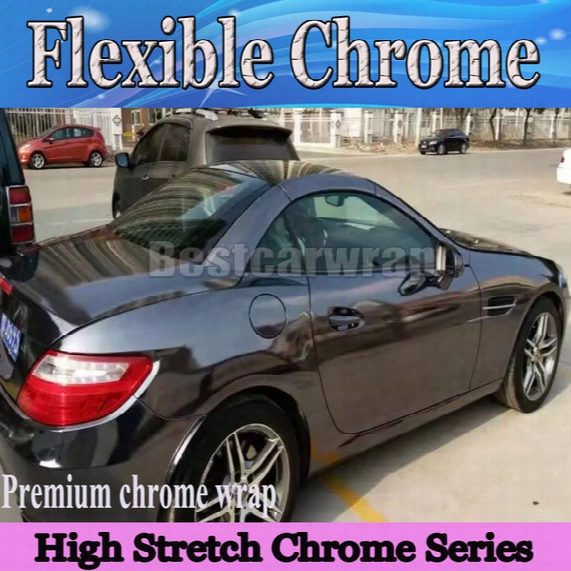 Best Black Chrome Vinyl Wrap With Air Bubble Free Flexible Stretchable Mirror Chrome For Car Covering Styling Foil :1.52x20m/roll 5x66ft