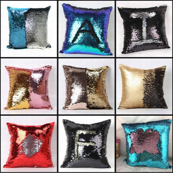 Double Color Sequins Pillow Case Cover Glamour Squarw Pillow Case Cushion Cover Hpme Sofa Car Decor Mermaid Scale Bright Pillow Covers