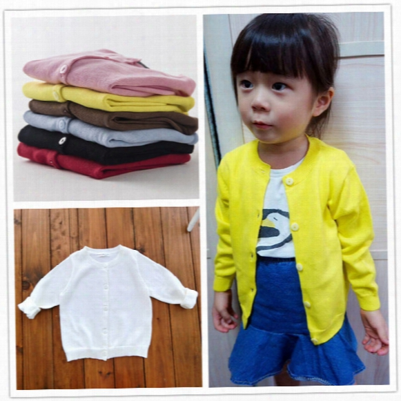 European Style Ins Popular Spring Autumn Cotton Baby Kids Sweater Knitwear Cardigan Long Sleeve Knit Coats For Girls Candy Colors Fashion