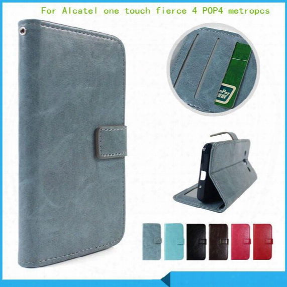For Alcatel One Touch Fierce 4 Pop 4 Plus 5056 Allura Metropcs Flip Leather Pouch Wallet Case Cover Inside Photo Frame Card Slots