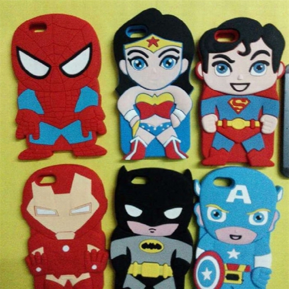 For Iphone 5 6 6plus Avengers Case Cute Cartoon Captain Batman Spider Iron Man Superman Soft Silicone Back Cover