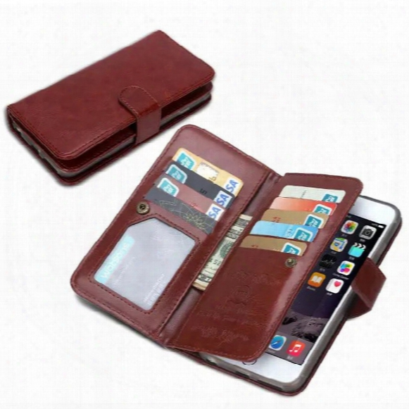 For Iphone 7 6 6s 5 5s Plus Multifunctional Flip Wallet Leather Case Cover With Magnetic Detachable 2in1 9 Cards Slot For Iphone7 7plus