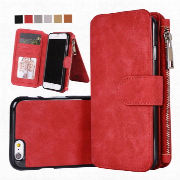 For Iphone 7 6 Plus Multi-functional Magnet Detachable Removable Vintage Magnetic Zipper Cover Leather Wallet Case For Galaxy S8 S7 Edge