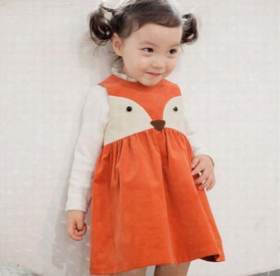 Girl Ins Fashion Princess Orange Fox Dot Dress 2016 New Children Cartoon Print Sleeveless Dress Children Clothing B001