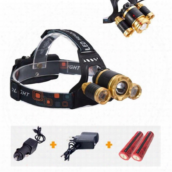 High Power 5000lum Zoomable Headlight Headlamp Cree Led T6 + 2*xpe Head Lamp Light Torch Flashlight 4 Modes With 18650 Battery+charger