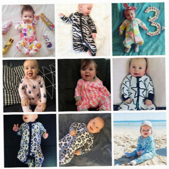 Ins Baby Boys Girls Cotton Rompers Infant Zipper Jumpsuits 42 Colors Long Sleeve Baby Clothes Fruit Stripe Cartoon Printing